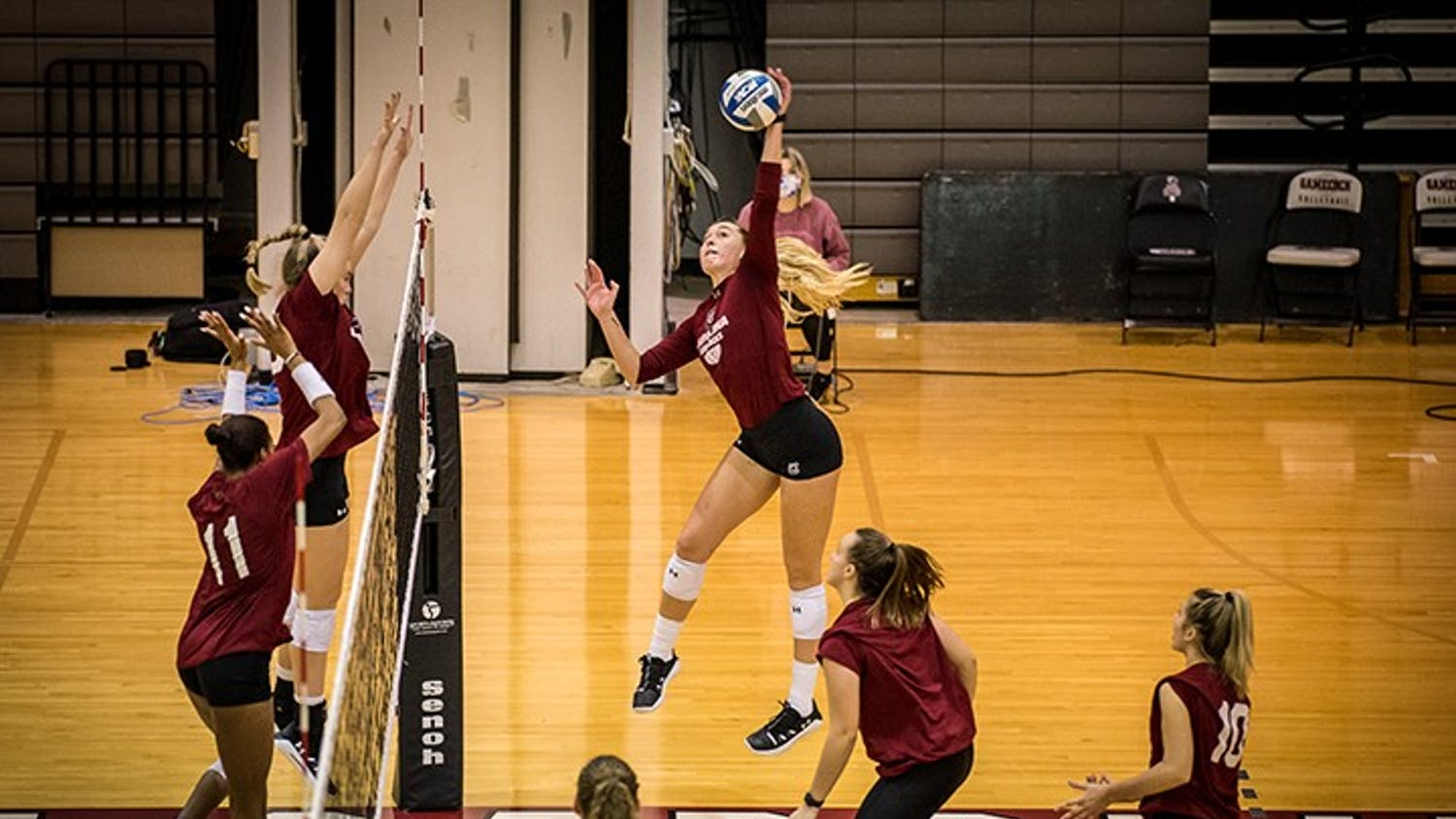 Sophomore Holly Eastridge spikes the ball during a practice scrimmage. South Carolina opens SEC play at Alabama on Jan. 29.