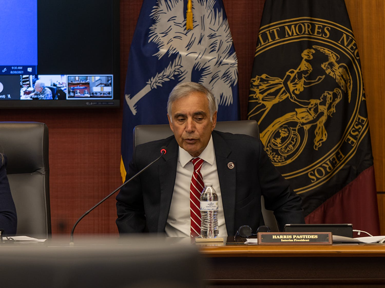 Interim President Harris Pastides speaks at the Fall 2021 Board of Trustees Retreat in the Pastides Alumni Center.