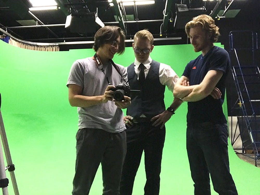 """<p>From left to right: Cole O'Neill, Jake Parlor and Wyatt Lasche while filming """"Opinionated.""""</p>"""