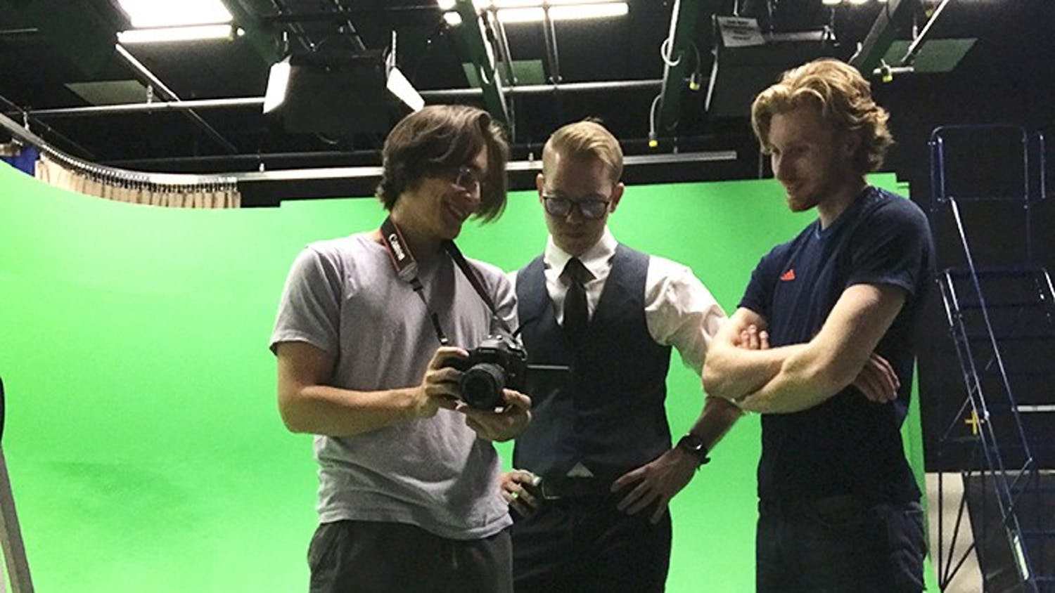 """From left to right: Cole O'Neill, Jake Parlor and Wyatt Lasche while filming """"Opinionated."""""""