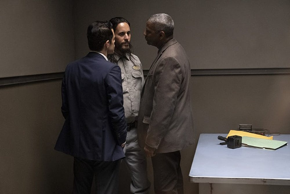 """<p>Rami Malek, left, Jared Leto, center, and Denzel Washington talk in a scene from """"The Little Things"""".&nbsp;</p>"""