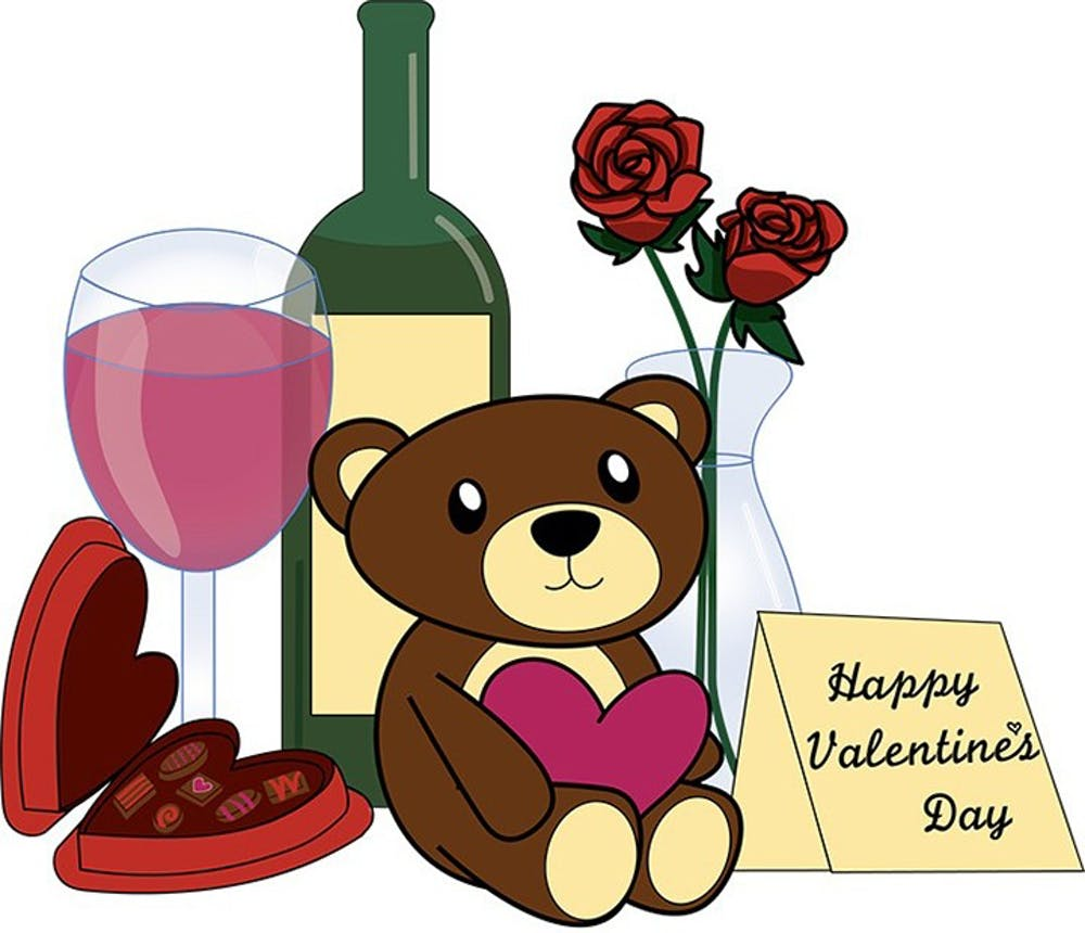 <p>Traditional Valentines day items include stuffed animals, wine, chocolates and flowers. These materialistic items have become a staple of the holiday.&nbsp;</p>