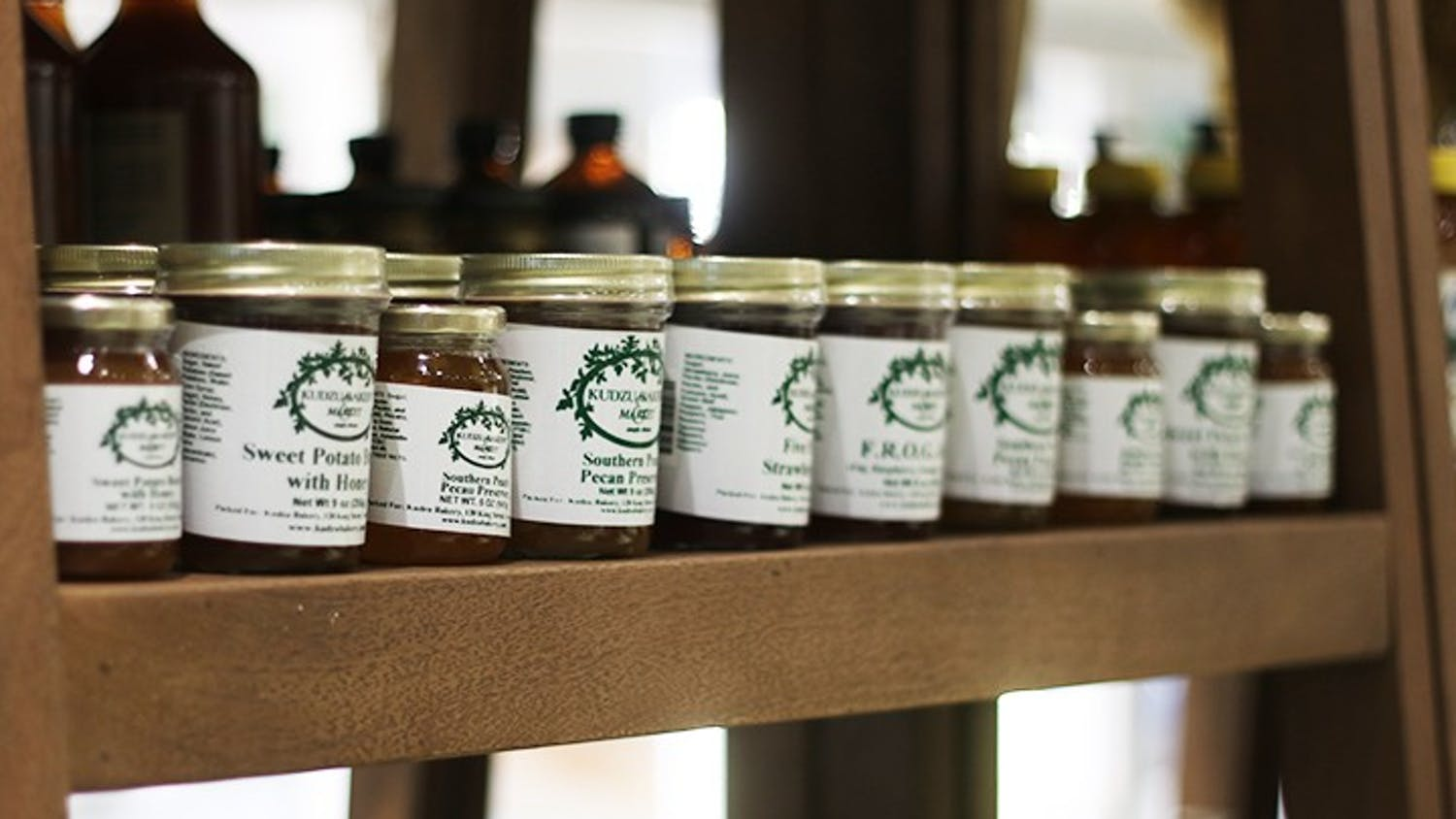 A row of Kudzu Bakery's preserves which come in a range of flavors and sizes.