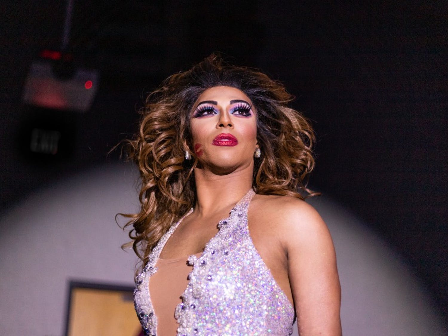 Drag Queen Shangela from RuPaul's Drag Race performs onstage in the Russell House Ballroom during the annual Birdcage event in 2018.