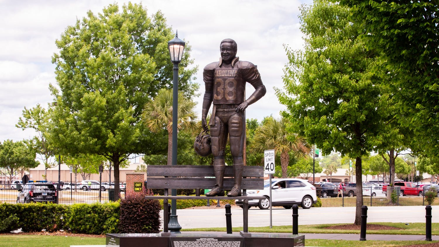 The George Rogers statue located at Williams-Brice Stadium.