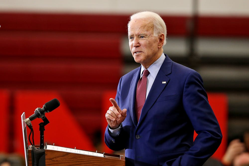 <p>&nbsp;Presidential nominee and former Vice President Joe Biden speaks while standing at a podium.&nbsp;</p>