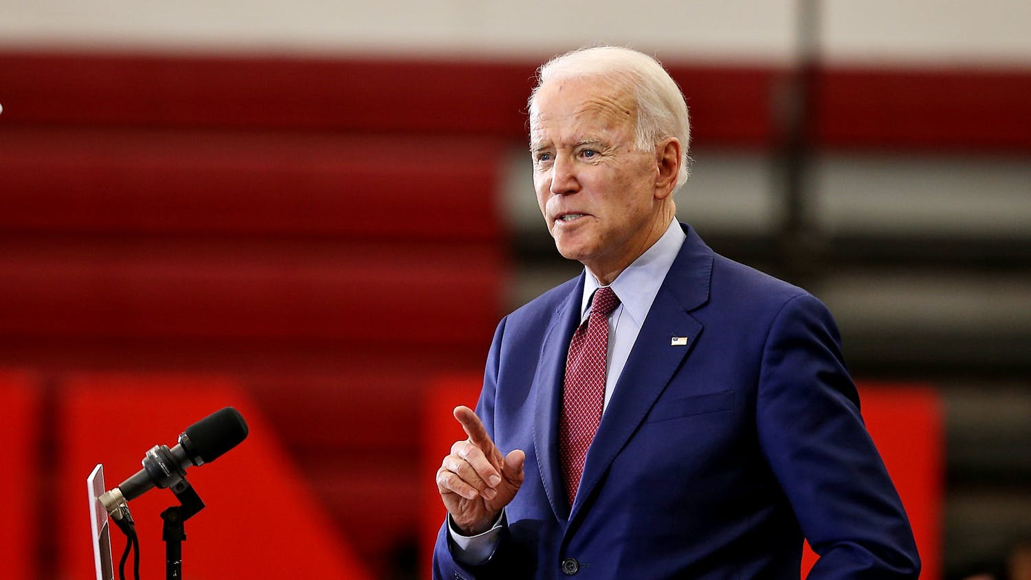 Presidential nominee and former Vice President Joe Biden speaks while standing at a podium.