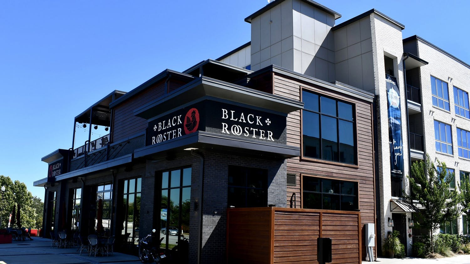 Black rooster offers views of the river and a rooftop area that is a favorite spot for customers.