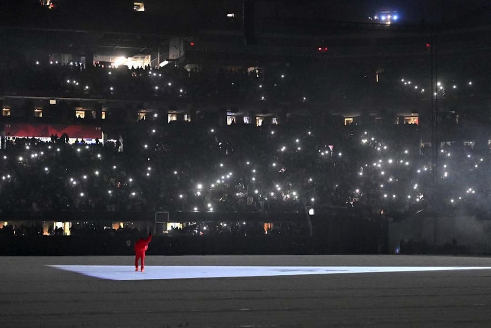 """<p>Kanye West performs his songs at the """"DONDA by Kanye West"""" listening event at the first Donda listening party, in the Mercedes-Benz Stadium. West's most recent album was released through labels GOOD Music and Def Jam Recordings and is named after his mother.&nbsp;</p>"""