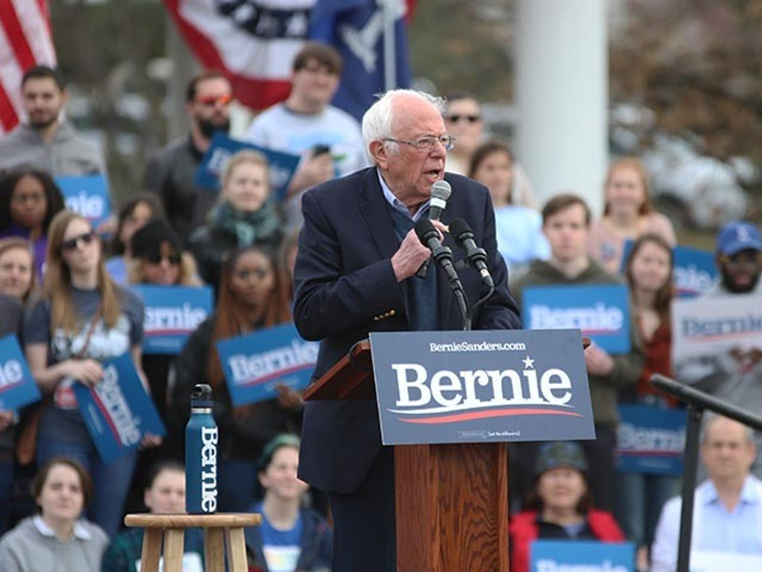 Vermont sen. and Democratic nominee candidate Bernie Sanders speaks to supporters at Friday's Bernie 2020 South Carolina rally in Finlay Park.