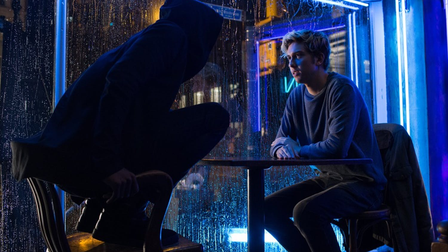 """Lakeith Stanfield, left, and Nat Wolff (Light Turner) star in the Netflix movie adapting the Japanese graphic novel """"Death Note,"""" arriving August 25, 2017. (James Dittiger/Netflix/TNS)"""