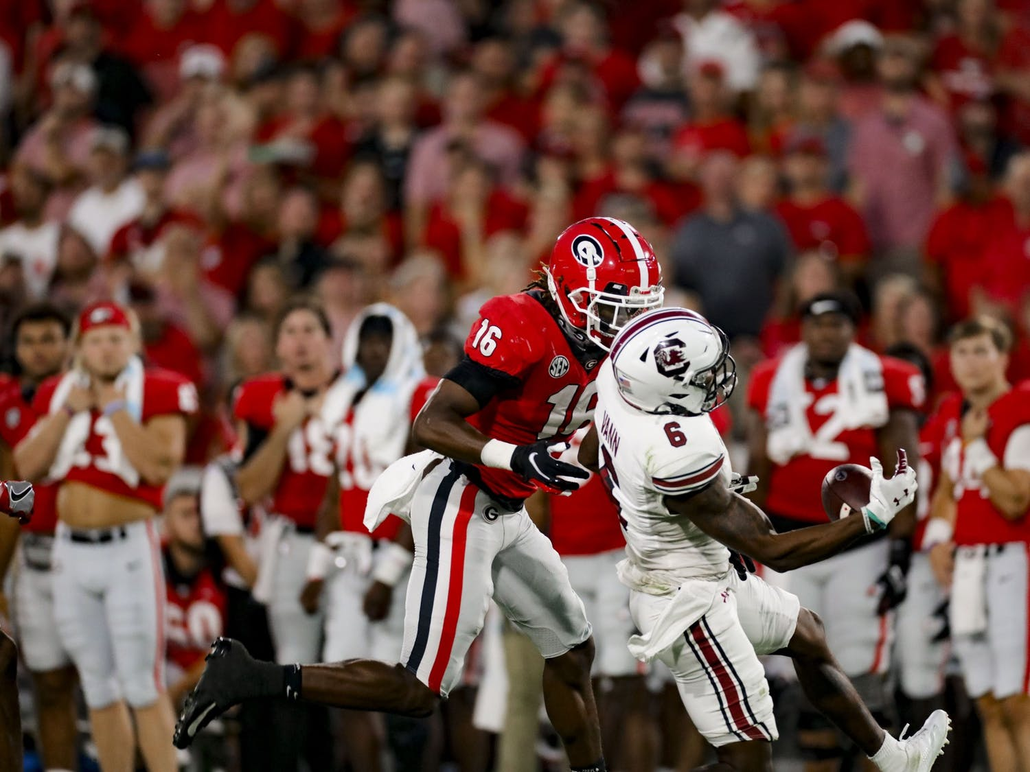 Senior wide receiver Josh Vann catches a pass in South Carolina's game against Georgia on Sept. 18, 2021.