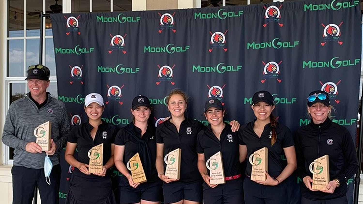 The women's golf team poses for a photo at the Moon Golf Invitational in Melbourne, Florida. The tournament win was the first of the spring season for the No. 2 Gamecocks.
