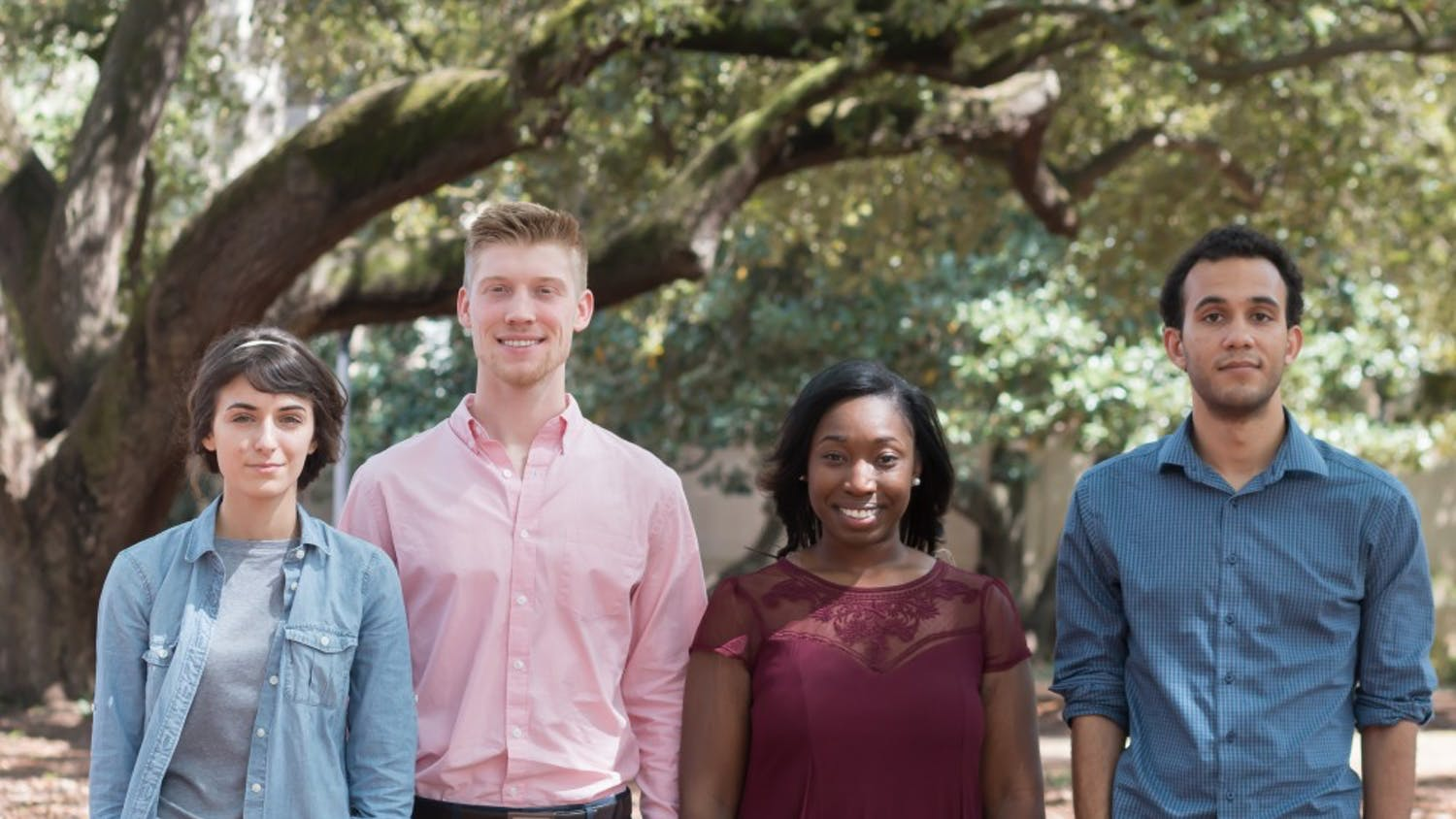 From right to left, NSF Graduate Research FellowsDylan Madisetti, De'Aira Bryant and Brock Fletcher, and honorable mention Alicia LaMarche.