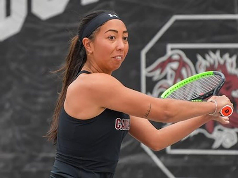 Graduate student tennis player Mia Horvit during a match against University of Missouri. The Gamecocks won against Missouri.