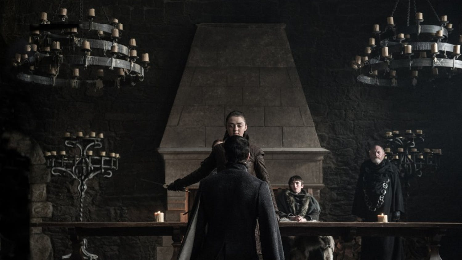 Maisie Williams, Aiden Gillen and Isaac Hempstead Wright in season 7, episode 7 of 'Game of Thrones.' (Helen Sloan/HBO)