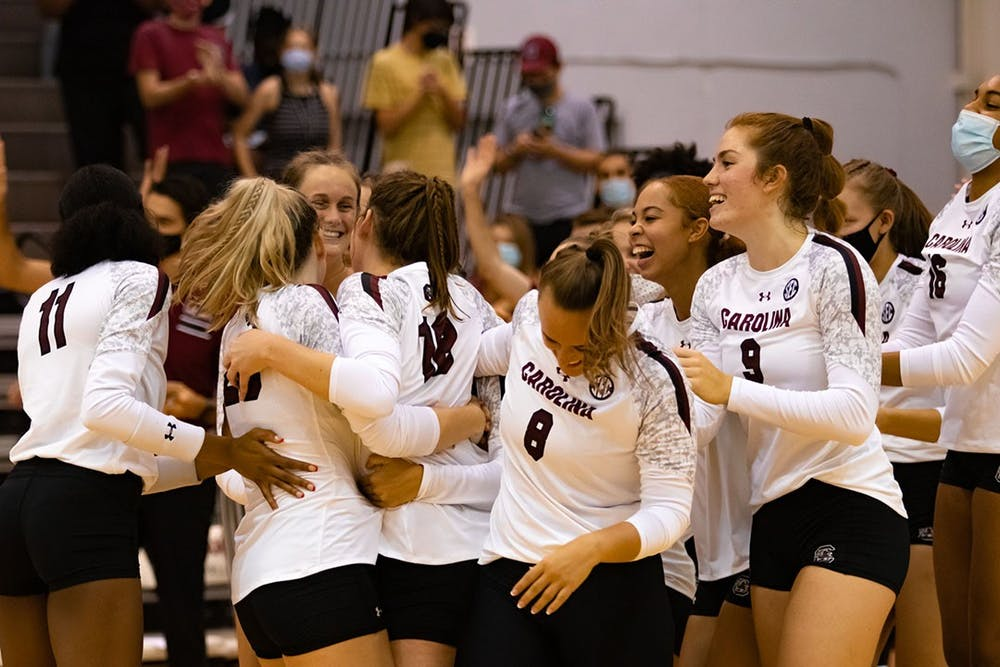 <p>The Gamecock Volleyball team celebrates Freshman Emmy Rollins first collegiate career kill. Rollins earned the game winning point completing a three-set sweep over the High Point Panthers.&nbsp;</p>