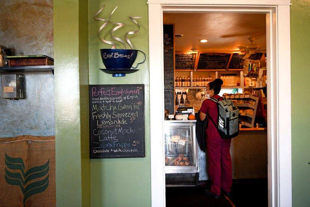 Specials are written on a chalkboard right outside the register at Cool Beans Coffee Co. These drinks change often and range from lemonades to espresso drinks.