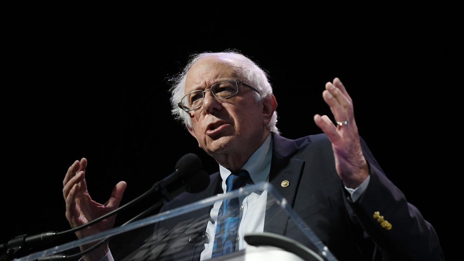 "Democratic presidential candidate Bernie Sanders speaks at the ""2019 We The People Membership Forum"" on April 1, 2019, in Washington, D.C. (Olivier Douliery/Abaca Press/TNS)"