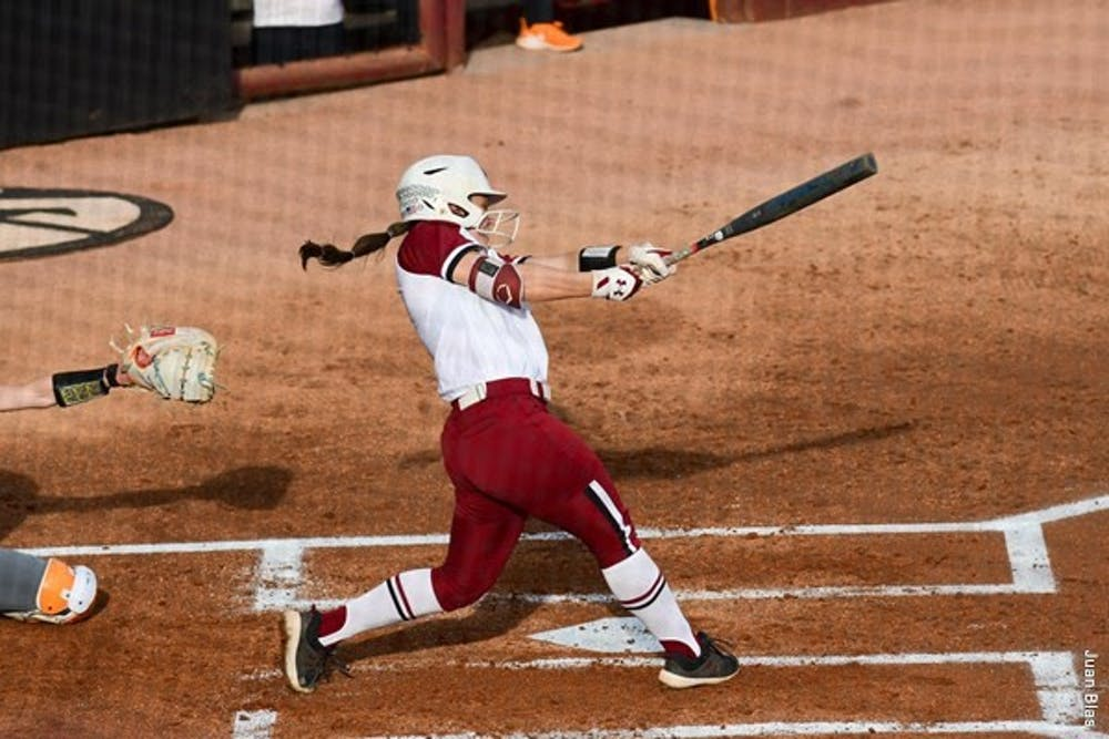 <p>&nbsp;Graduate student infielder Mackenzie Boesel swings at a ball pitched by the opposing&nbsp;</p>