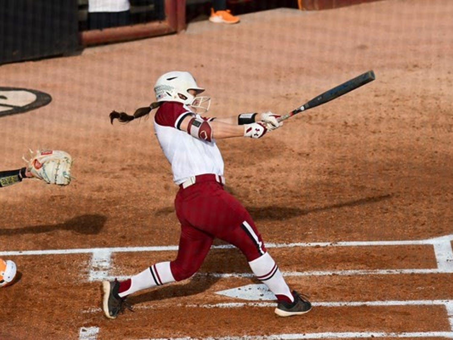 Graduate student infielder Mackenzie Boesel swings at a ball pitched by the opposing