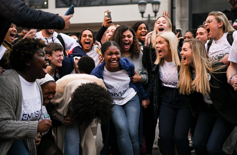 <p>Newly elected Student Body Vice President Hannah White and Student Body President Issy Rushton celebrate their win surrounded by campaign supporters.</p>