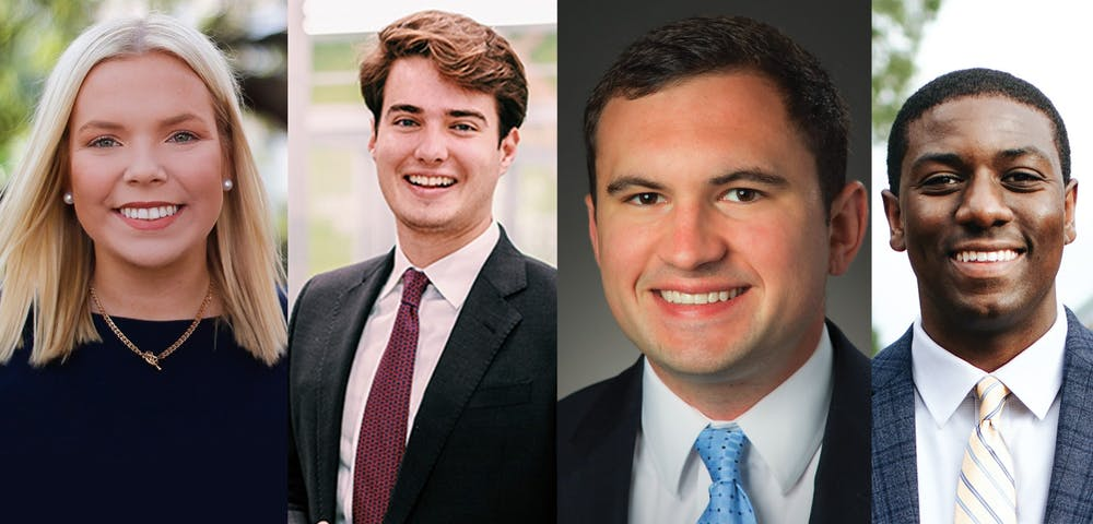 <p>Former student body presidents, from left to right: Issy Rushton, 2020-2021; Luke Rankin, 2019-2020; Ross Lordo, 2017-2018; Taylor Wright, 2018-2019.</p>