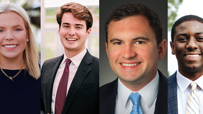 Former student body presidents, from left to right: Issy Rushton, 2020-2021; Luke Rankin, 2019-2020; Ross Lordo, 2017-2018; Taylor Wright, 2018-2019.