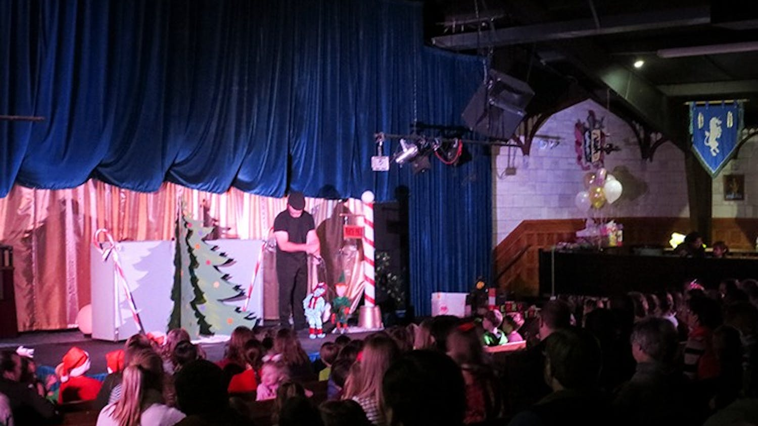 The Columbia Marionette Theatre puts on a Christmas show for a live audience. Columbia Marionette Theatre's biggest customers are schools.
