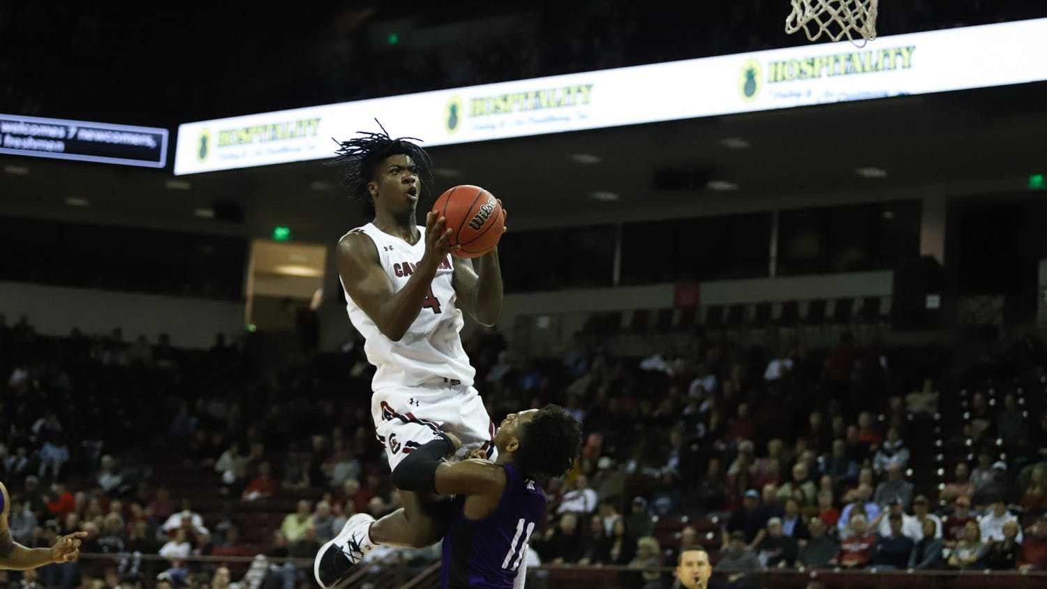 Freshman Jalyn Mccreary goes up for a layup in the Gamecocks game against North Alabama on Wednesday night. Mccreary scored 9 points in the Gamecocks 77-55 win in this game