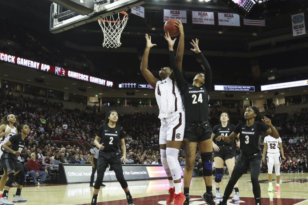 <p>Sophomore forward Aliyah Boston goes up for a rebound in a 2020 game against Vanderbilt. The Gamecocks beat the Commodores 106-43 in Nashville on Thursday.&nbsp;</p>