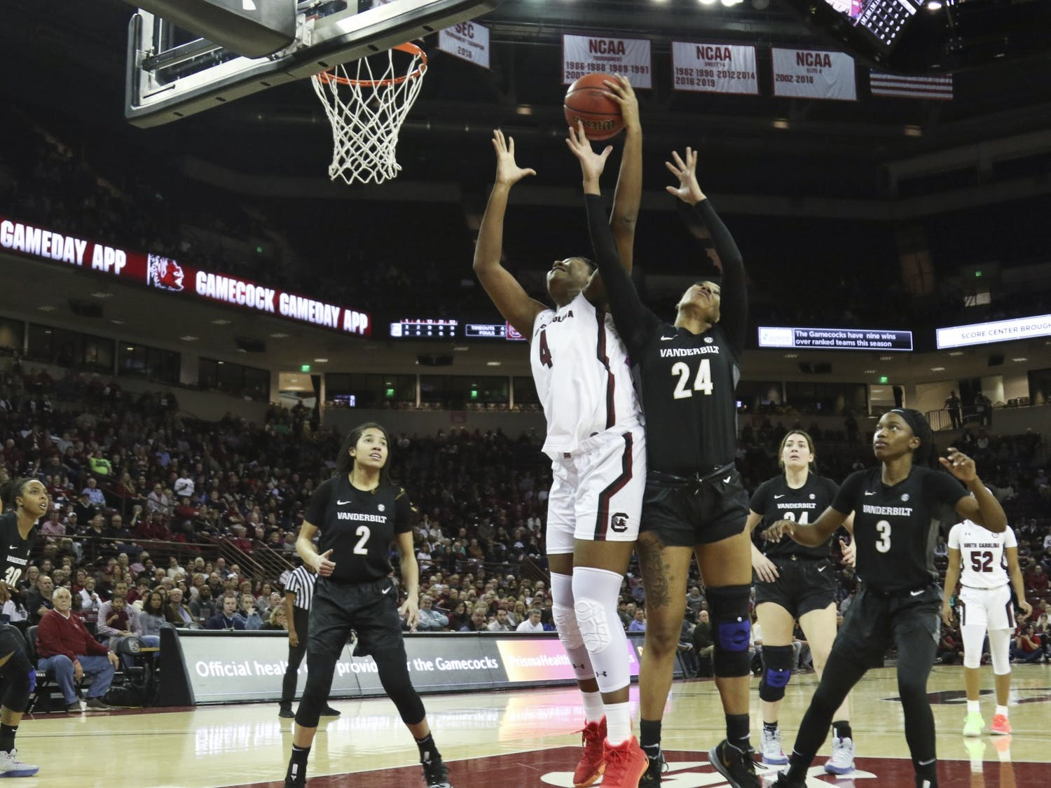 Sophomore forward Aliyah Boston goes up for a rebound in a 2020 game against Vanderbilt. The Gamecocks beat the Commodores 106-43 in Nashville on Thursday.