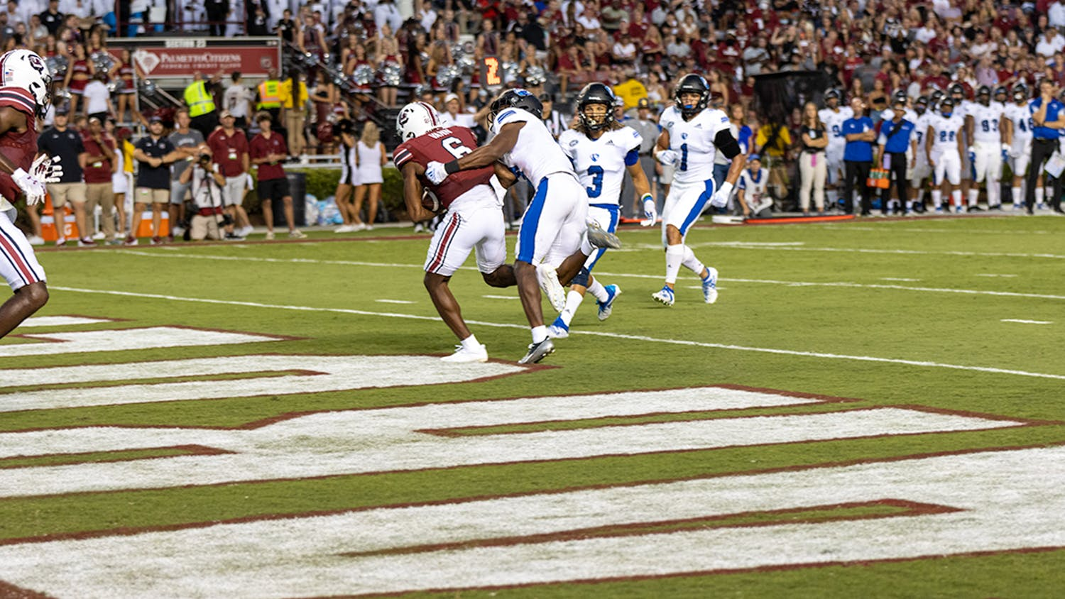 Senior wide receiver Josh Vann steps into the end zone with a 12-yard pass from graduate student quarterback Zeb Noland. This touchdown brought the Gamecocks to 22 points at the top of the second quarter.