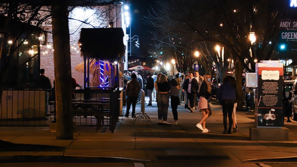 <p>The walkway facing the bar Breakers from the corner of Harden and Greene Street at 9:52 p.m. on Jan. 29, 2021.&nbsp;</p>