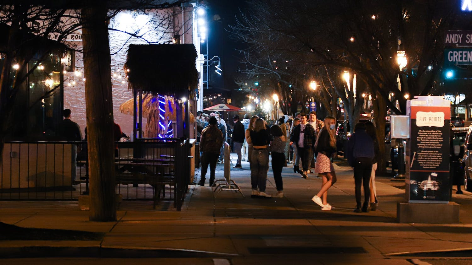 The walkway facing the bar Breakers from the corner of Harden and Greene Street at 9:52 p.m. on Jan. 29, 2021.