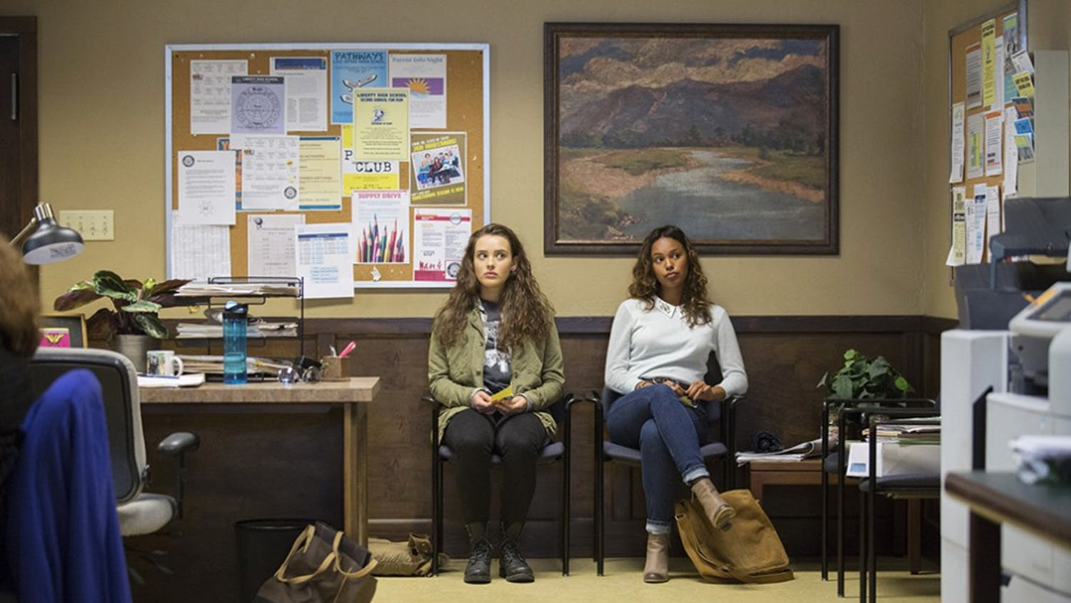 """Katherine Langford, left, and Alisha Boe play frenemies in the Netflix series """"13 Reasons Why."""" (Beth Dubber/Netflix)"""