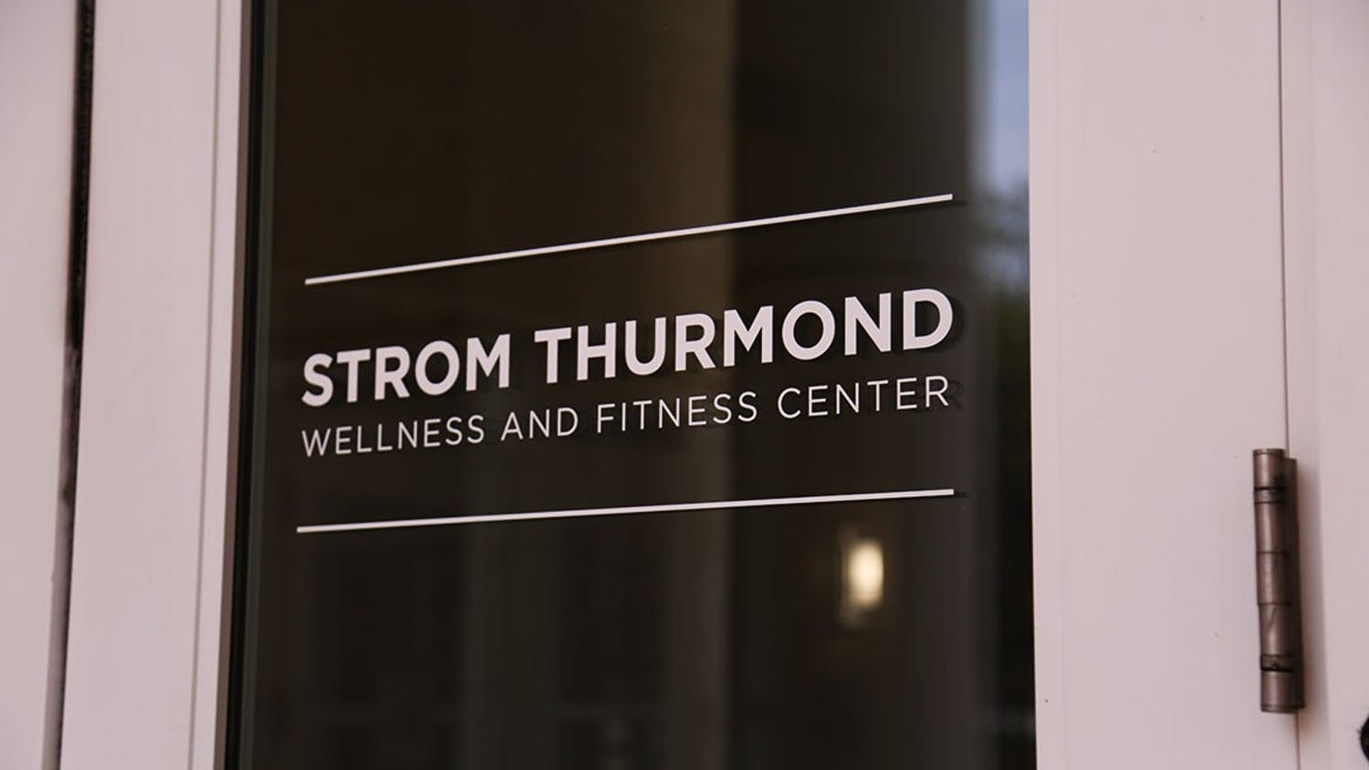 A door marks the entrance to the Strom Thurmond Wellness and Fitness Center.