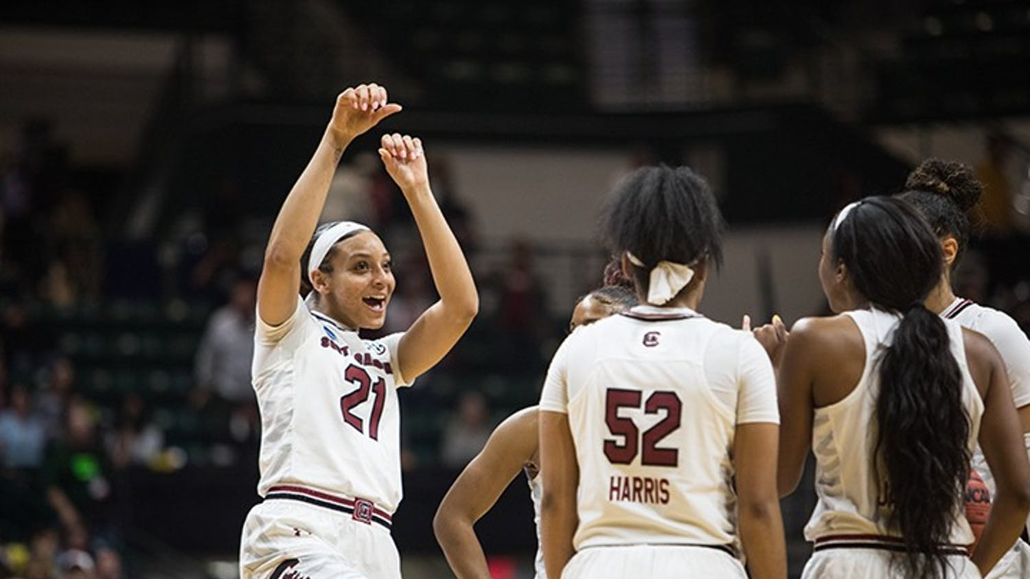 Junior Mikiah Harrigan celebrates with her teammates after South Carolina secured a win against Florida State to advance to the Sweet 16 at the Halton Arena on Sunday.