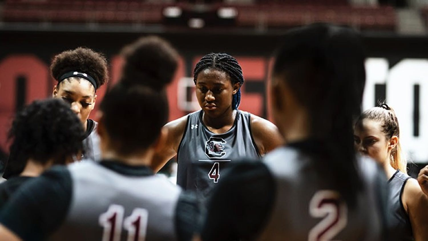 Sophomore forward Aliyah Boston stands in a huddle with her fellow teammates during the first official practice of the season.