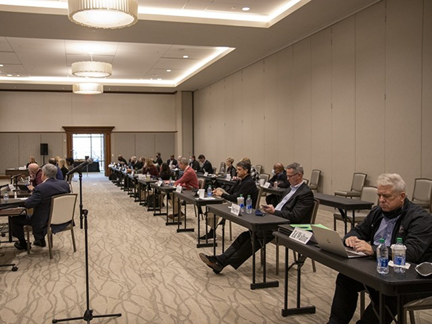 University of South Carolina board of trustee members meet at the Alumni Center during the 2021 board of trustees retreat to discuss issues, concerns and goals for the 2021 year.