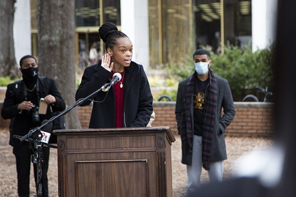 <p>USC's NAACP chapter President Caley Bright gives a speech at the Aim to Rename press conference on Feb. 17, 2021.&nbsp;</p>