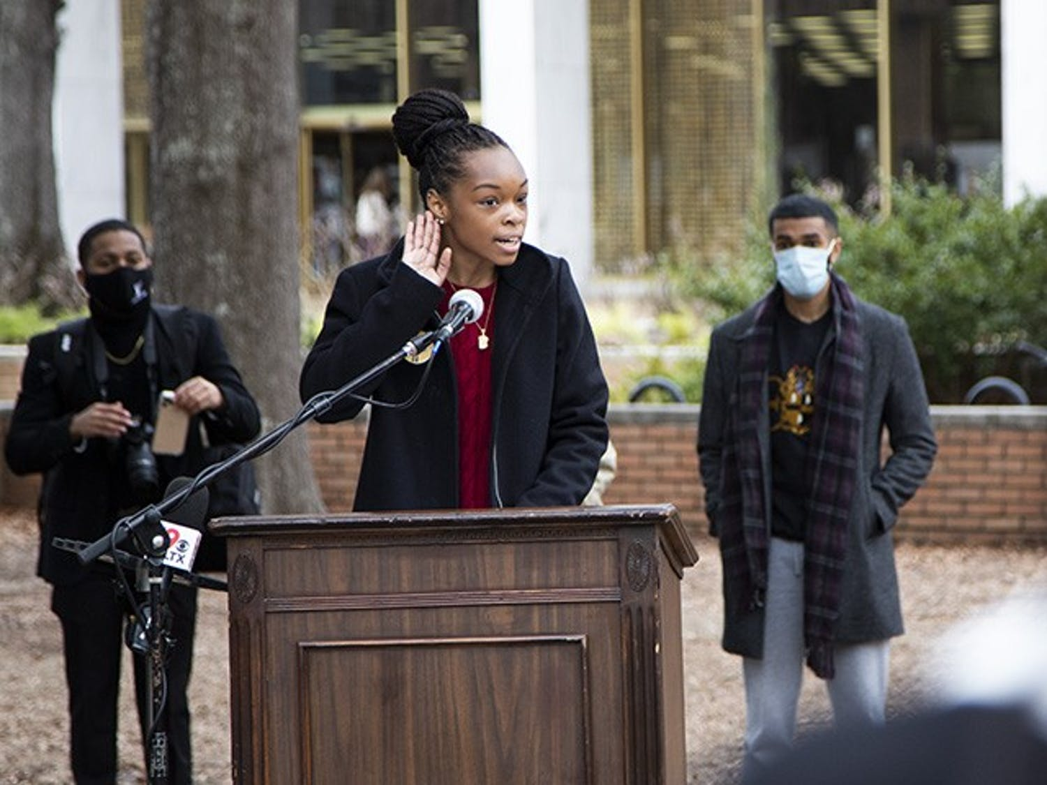 USC's NAACP chapter President Caley Bright gives a speech at the Aim to Rename press conference on Feb. 17, 2021.