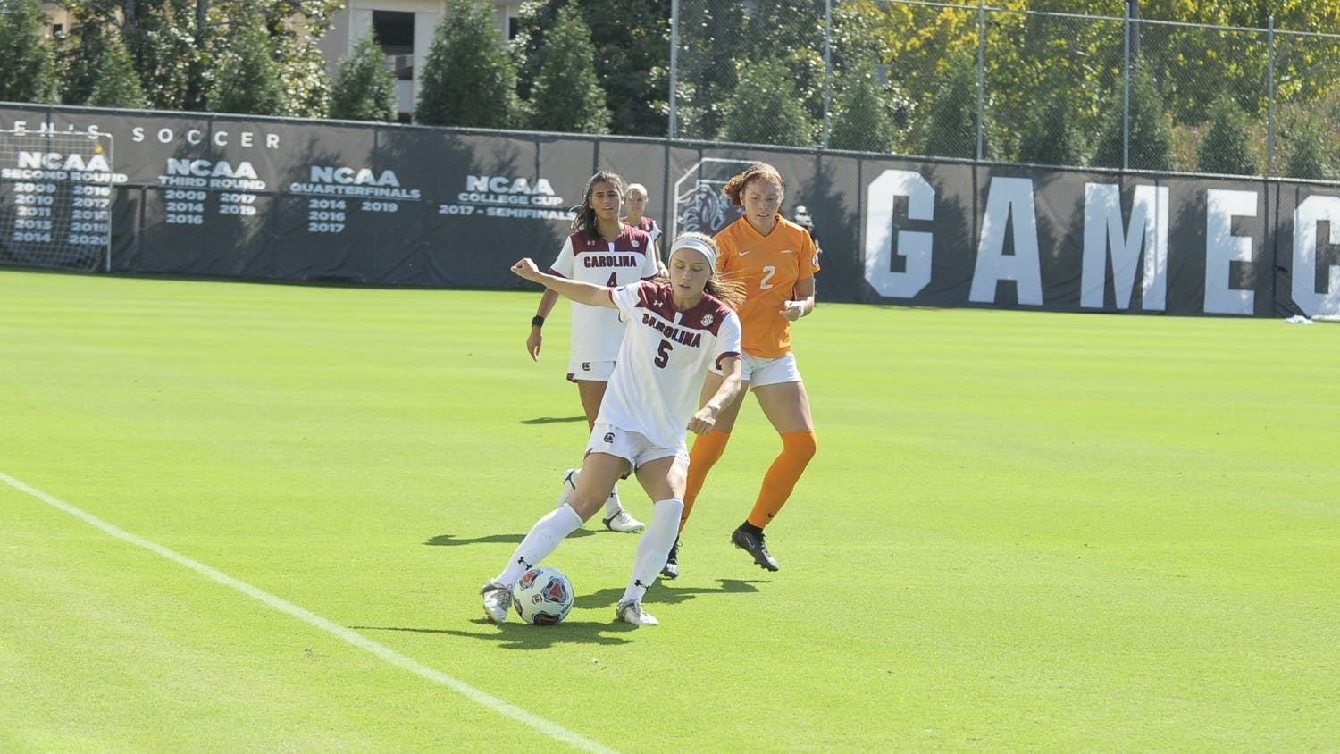 Gamecock graduate forward Luciana Zullo keeps the ball in bounds after receiving a pass from a teammate during the game against Tennessee Oct. 10, 2021.