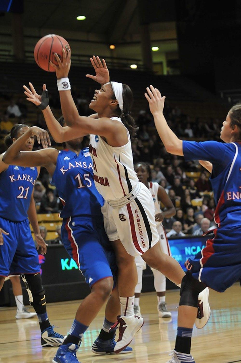 <p>The women's basketball team fell 75-69 to Kansas.</p>