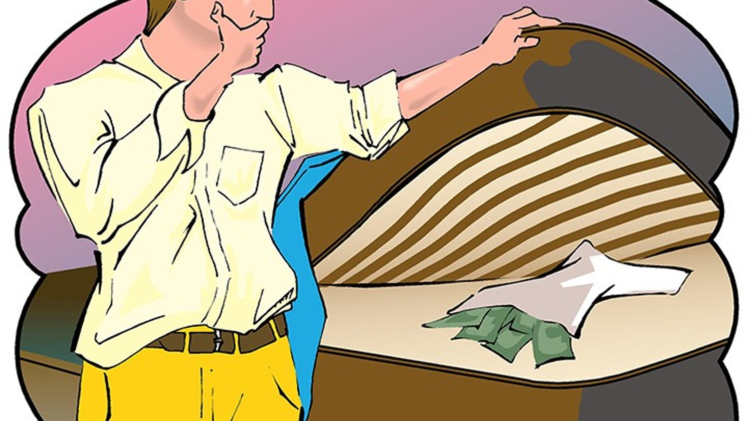 300 dpi Cliff Blair illustration of man hiding money under a mattress. The Tallahassee Democrat 1994