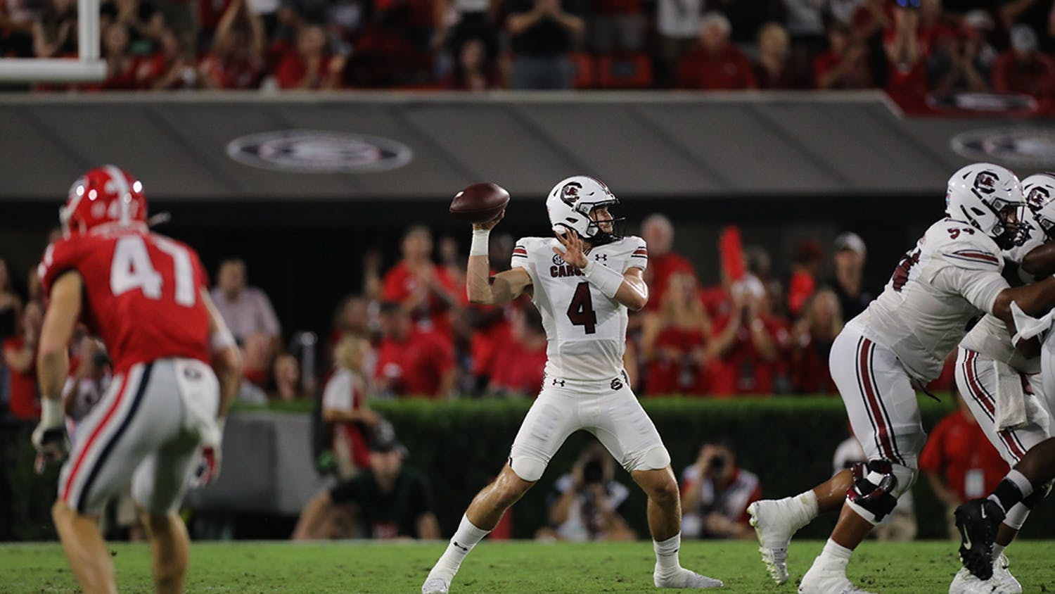 Sophomore quarterback Luke Doty searches for an open receiver downfield on Sept. 18, 2021. This game against the Georgia Bulldogs resulted in a loss for the Gamecocks.