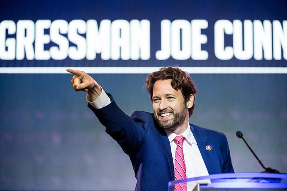 Democratic Rep. Joe Cunningham of South Carolina addresses the crowd at the 2019 South Carolina Democratic Party State Convention on June 22, 2019, in Columbia, South Carolina.