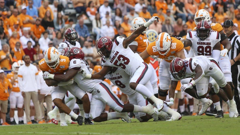 University of South Carolina football player tackles a University of Tennessee player Oct. 26, 2019. South Carolina lost 41-21.