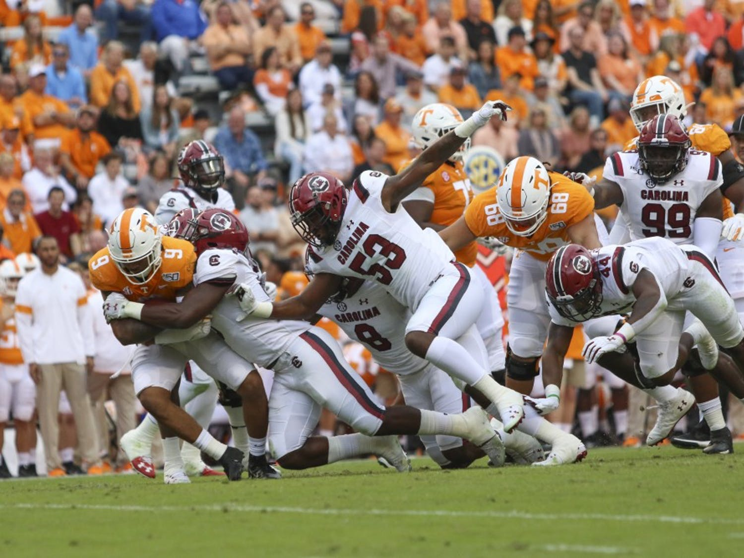 University of South Carolina football player tackles a University of Tennessee player Oct. 26, 2019. South Carolina lost 41-21.