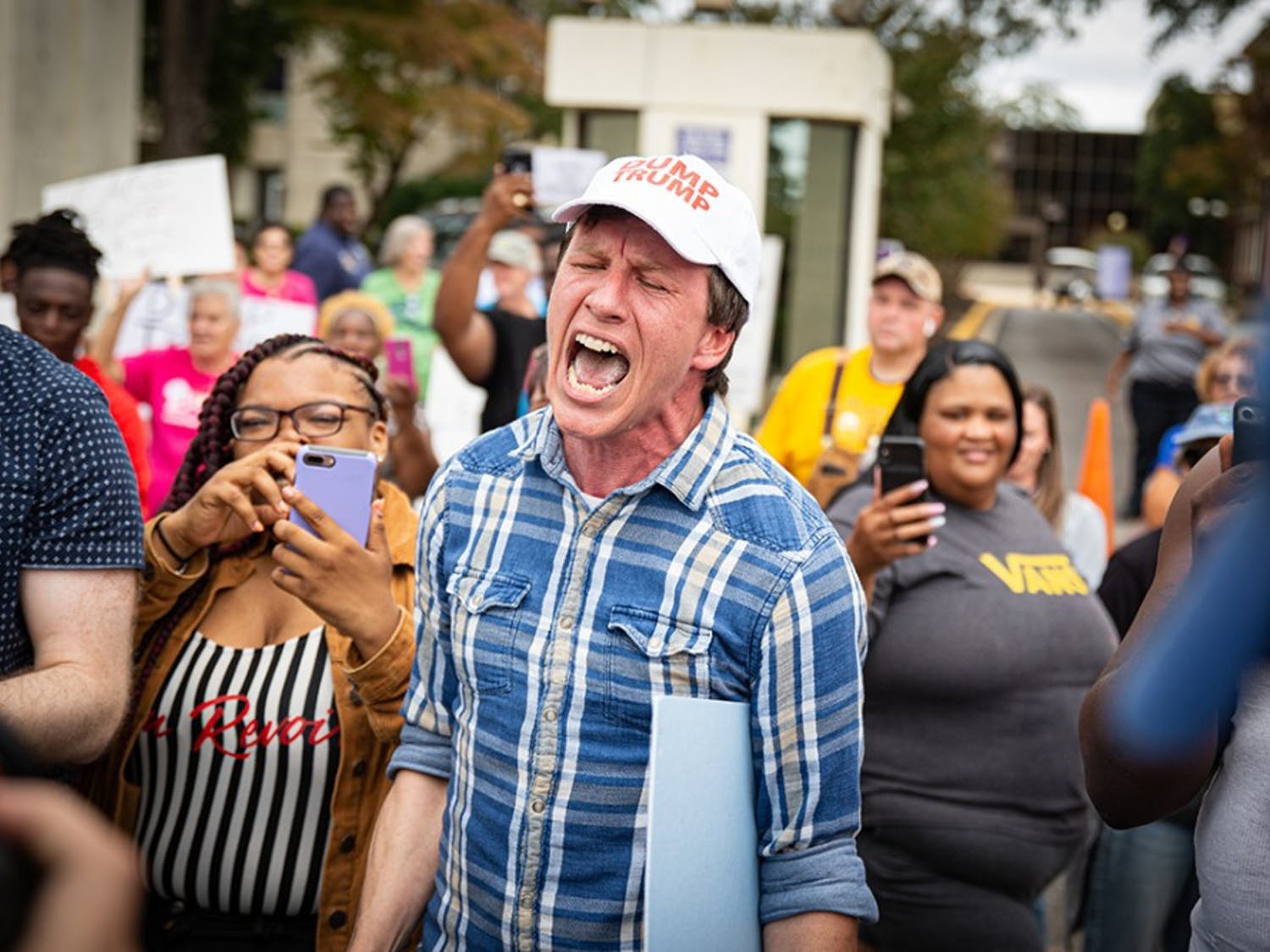 Protestor expresses his feelings to supporters at Benedict College Oct. 25.